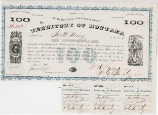 1868 TERRITORY OF MONTANA BOND AND COUPONS, SIGNED BY JAMES TUFTS, GOVERNOR OF MONTANA TERRITORY, AND BY OTHER TERRITORIAL OFFICIALS.
