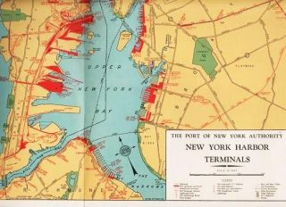 SHIP VIA THE PORT OF NEW YORK--CROSSROADS OF THE WORLD'S SHIP AND AIR LANES [map]. New York Port...