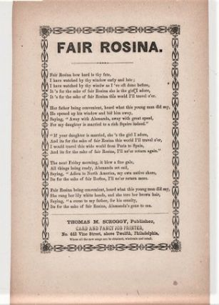 Song sheet: FAIR ROSINA. Fair Rosina