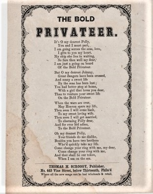 Song sheet: THE BOLD PRIVATEER. Bold Privateer