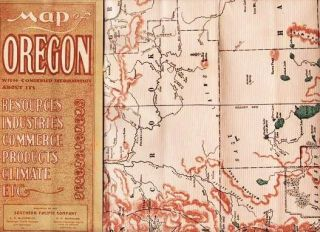 MAP OF OREGON: With condensed information about its Resources, Industries, Commerce, Products,...