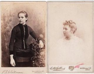 TWO (2) CABINET CARD PHOTOGRAPHS OF ELIZABETH DUELL PANCOAST AS A YOUNG WOMAN AND AS A SOMEWHAT...