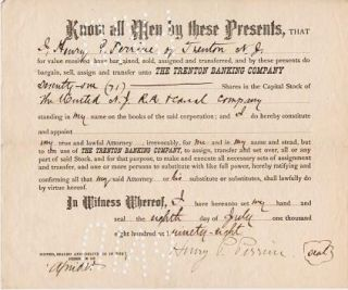 PRINTED TRANSFER OF 71 SHARES IN THE UNITED N.J. R.R. & CANAL COMPANY FROM HENRY P. PERRINE OF...