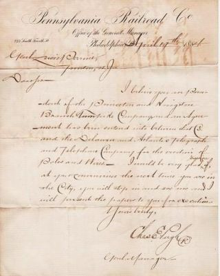 AUTOGRAPH LETTER FROM CHARLES E. PUGH, GENERAL MANAGER OF THE PENNSYLVANIA RR, TO GENERAL LEWIS...