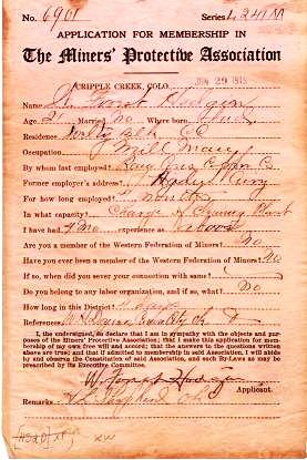 1915 APPLICATION FOR MEMBERSHIP IN THE MINERS' PROTECTIVE ASSOCIATION. Cripple Creek Colorado