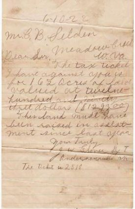 AUTOGRAPH LETTER SIGNED TO MR. C.B. SELDEN AT MEADOW CREEK, W. VA., DATED 6-10-22. J. W. Glover.