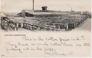 PHOTO-POSTCARD SHOWING HUNDREDS OF BALES OF COTTON OUTSIDE THE COTTON COMPRESS AT OKLAHOMA CITY....