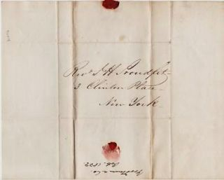 1839 HANDWRITTEN LETTER (ALS) TO REV. J.H. PROUDFIT, 3 Clinton Place, New York. Goodman, Co