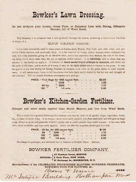 BOWKER'S LAWN DRESSING ... BOWKER'S KITCHEN-GARDEN FERTILIZER