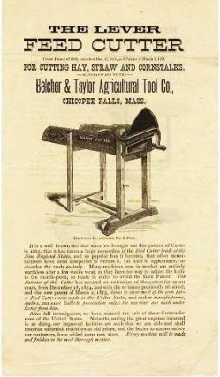 THE LEVER FEED CUTTER: For Cutting Hay, Straw and Cornstalks. Belcher, Taylor.