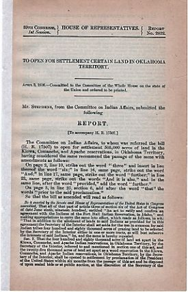 TO OPEN FOR SETTLEMENT CERTAIN LAND IN OKLAHOMA TERRITORY. April 3, 1906...Mr. Stephens, Committee on Indian Affairs, Report to accompany H.R. 17507. Oklahoma Territory.