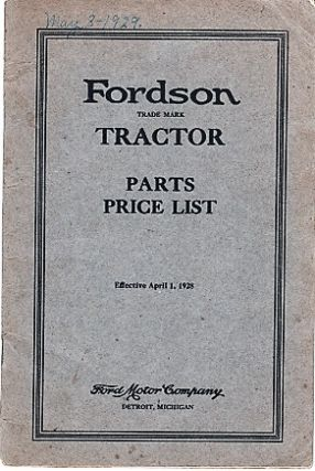 FORDSON TRACTOR: PARTS PRICE LIST. Ford Motor Company