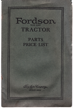 FORDSON TRACTOR: PARTS PRICE LIST