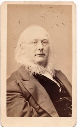 CARTE DE VISITE OF NEWSPAPER PUBLISHER, HORACE GREELEY. PHOTOGRAPHED BY BOGARDUS GALLERIES....