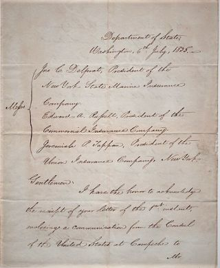 HANDWRITTEN LETTER FROM THE SECRETARY OF STATE TO THE PRESIDENTS OF THREE INSURANCE COMPANIES,...