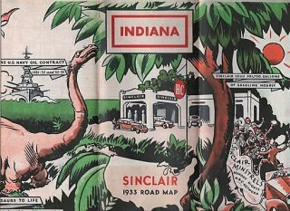 SINCLAIR 1933 OFFICIAL ROAD MAP: INDIANA. Indiana