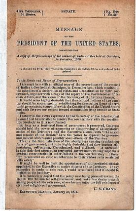 MESSAGE OF THE PRESIDENT OF THE UNITED STATES, COMMUNICATING A COPY OF THE PROCEEDINGS OF THE...
