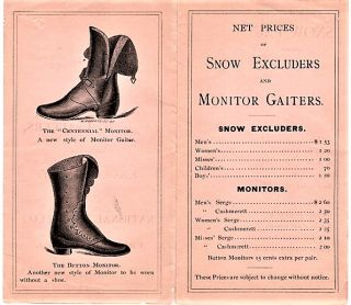 1840-1875. SPECIALTIES IN ARCTIC GAITERS, MANUFACTURED EXCLUSIVELY BY THE NATIONAL RUBBER CO.,...