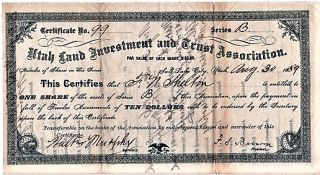 UTAH LAND INVESTMENT AND TRUST ASSOCIATION: STOCK CERTIFICATE, AUGUST 30, 1889. Salt Lake City...