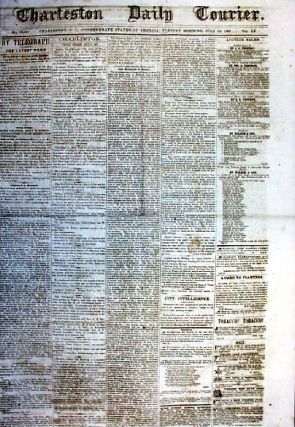 CHARLESTON DAILY COURIER. Friday Morning, October 2, 1863. Charleston South Carolina.