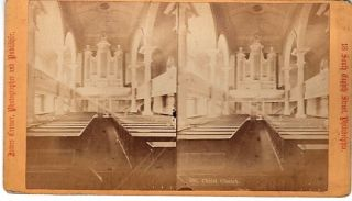 STEREOSCOPIC VIEW CARD SHOWING THE INTERIOR OF CHRIST CHURCH. Philadelphia Pennsylvania