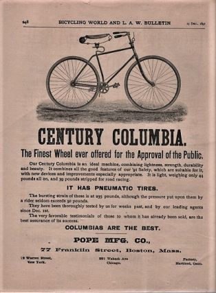 THE BICYCLING WORLD & L.A.W. BULLETIN: Devoted to the Interests of Cycling. Volume XXIV, Number 9, December 25, 1891.