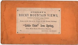 "STEREOSCOPIC VIEW OF ""LITTLE CHIEF"" IRON SPRING, ONE MILE FROM MANITOU HOUSE, MANITOU, COLORADO. Scenes on the Line of the Denver & Rio Grande Railway."