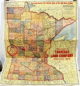 MAP OF MINNESOTA: TRAVERSE COUNTY, THE GARDEN SPOT OF THE RED RIVER VALLEY. Compliments of Traverse Land Company...Immigration Agents for West Central Minnesota Lands. Minnesota.