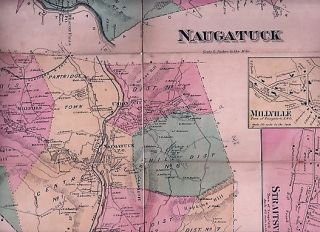 HAND-COLORED FOLDING MAP OF OXFORD, NAUGATUCK, MILLVILLE & STRAITSVILLE, CONNECTICUT