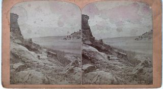 STEREOSCOPIC VIEW, PIKE'S PEAK, 14,336 FEET HIGH: Looking through Templeton's Gap, 16 Miles,...