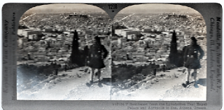 STEREOSCOPIC VIEW, SOUTHWEST FROM THE LYKABETTOS PAST THE ROYAL PALACE AND ACROPOLIS TO THE SEA....