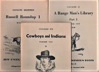 GROUP OF FOURTEEN (14) CATALOGS ISSUED BY JEFF DYKES / WESTERN BOOKS, 1967-1984. Jeff Dykes
