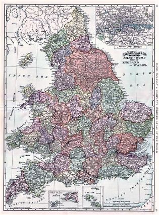 RAND, McNALLY & CO.'S INDEXED POCKET MAP OF ENGLAND AND WALES SHOWING THE COUNTIES, ISLANDS, LAKES, MOUNTAINS, RIVERS, AND RAILROADS, together with every Post Office, Railroad Station or Town carefully indexed, referring to the exact location where each may be found on the map.