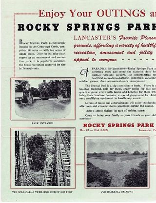 ROCKY SPRINGS PARK BROCHURE: Lancaster's Favorite Pleasure Grounds, affording a variety of healthful recreation, amusement and jollity....