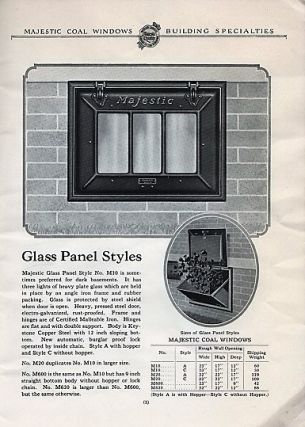 MAJESTIC COAL WINDOWS, UNDERGROUND GARBAGE RECEIVERS, BUILDING SPECIALTIES