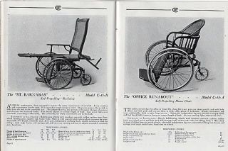 COLSON WHEEL CHAIRS, CRIPPLE MACHINES AND EQUIPMENT [cover title]. WHEEL CHAIRS: Machines for Cripples, Catalog No. 62. Catalog of a very high grade of specially made vehicles and equipment for all conditions of invalidism and disability.
