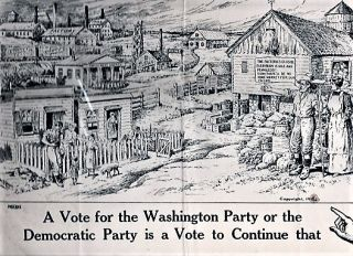PENROSE VOTED AGAINST THIS ... A VOTE FOR THE WASHINGTON PARTY OR THE DEMOCRATIC PARTY IS A VOTE TO CONTINUE THAT [political cartoon broadside].