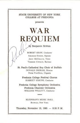 WAR REQUIEM: Robert Shaw, Conductor. State University of New York, College at Fredonia,...