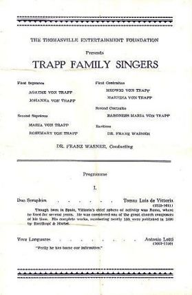THE THOMASVILLE ENTERTAINMENT FOUNDATION PRESENTS THE TRAPP FAMILY SINGERS: Programme. Trapp Family