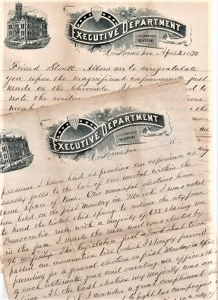 1890 HANDWRITTEN, CONGRATULATORY LETTER (ALS) FROM J.H. CAMPBELL, MAYOR OF DES MOINES, TO W.H....