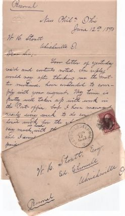 "1890 HANDWRITTEN LETTER (ALS) TO W.H. STOUTT, EDITOR OF THE UHRICHSVILLE, OHIO ""CHRONICLE.""..."