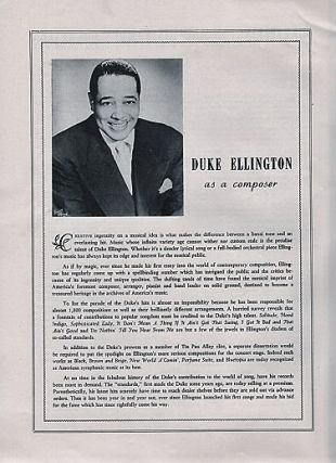 DUKE ELLINGTON AND HIS FAMOUS ORCHESTRA: Concert Program.