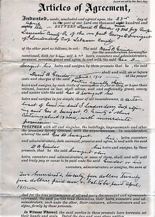 1910 HANDWRITTEN AGREEMENT BETWEEN DAVID B. GINDER OF MOUNT JOY TOWNSHIP, LANCASTER COUNTY, AND...