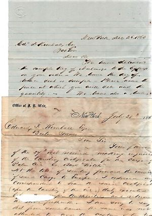 "1863 TRANSATLANTIC TRADE ARCHIVE: TWO (2) HOLOGRAPH LETTERS, WRITTEN ABOARD THE SHIP ""WITCH"" OFF THE COAST OF GHANA, SOON TO SAIL HOME TO BOSTON + NINE (9) MARITIME TRADE DOCUMENTS REGARDING SALE OF THE AFRICAN CARGO OF GUM COPAL, PALM OIL, CINNAMON, MACE, &C."