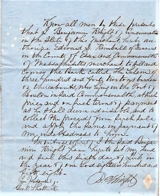"1858 HANDWRITTEN POWER OF ATTORNEY TO EDWARD D. KIMBALL IN THE SALE OF THE BARQUE ""SALEM.""..."