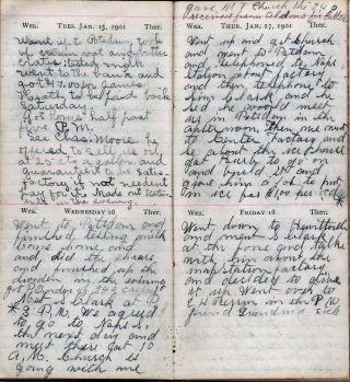 1901 HANDWRITTEN DIARY KEPT BY THIS NEW YORK STATE DAIRYMAN, RESIDING IN POTSDAM, SAINT LAWRENCE...