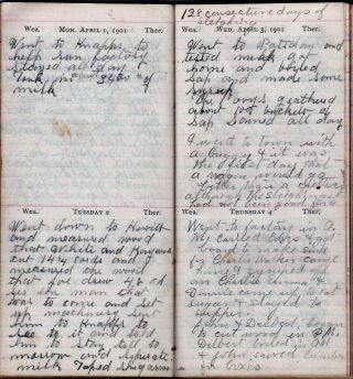 1901 HANDWRITTEN DIARY KEPT BY THIS NEW YORK STATE DAIRYMAN, RESIDING IN POTSDAM, SAINT LAWRENCE COUNTY, NY.