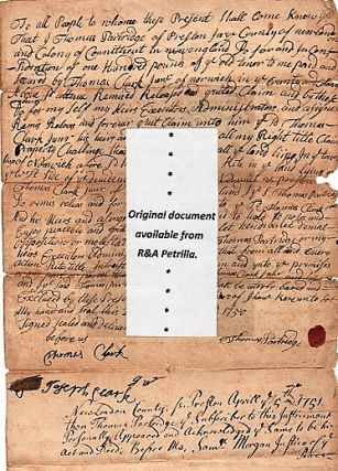 1750 HANDWRITTEN DEED OF SALE BY THOMAS PARTRIDGE, PRESTON, CONNECTICUT. Preston / Partridge...