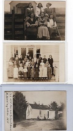 GROUP OF SEVEN (7) PHOTOGRAPHS & REAL-PHOTO POSTCARDS SHOWING VARIOUS AMERICAN SCHOOLHOUSES,...