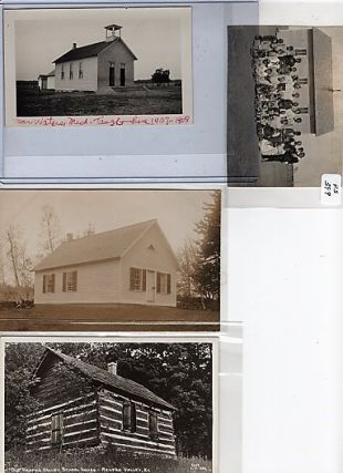 GROUP OF SEVEN (7) PHOTOGRAPHS & REAL-PHOTO POSTCARDS SHOWING VARIOUS AMERICAN SCHOOLHOUSES, STUDENTS & TEACHERS, CIRCA 1900-1910.